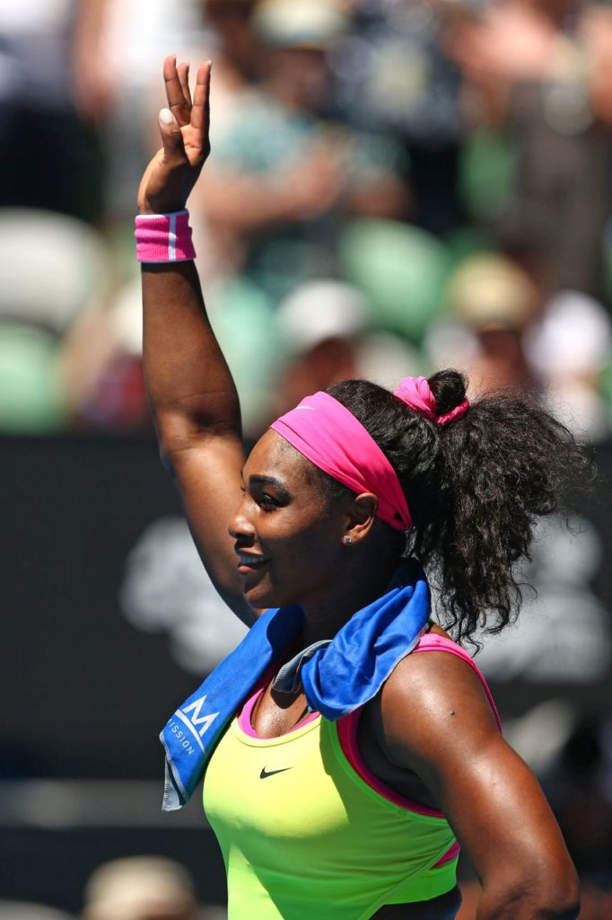 MELBOURNE, AUSTRALIA - JANUARY 24:  Serena Williams of the United States celebrates winning in her third round match against Elina Svitolina of the Ukraine during day six of the 2015 Australian Open at Melbourne Park on January 24, 2015 in Melbourne, Australia.  (Photo by Ryan Pierse/Getty Images)