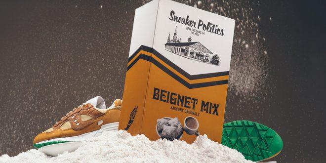 """Smaczna kolaboracja od Saucony Originals. Buty dla miłośników słodkich przekąsek  """"Brown Beignet"""" x Sneaker Politics x Cafe du Monde"""