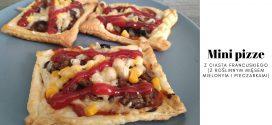Mini pizze z ciasta francuskiego (z roślinnym mięsem mielonym i pieczarkami)